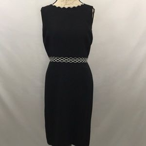 Ann Taylor Black Dress with White Accents sz 12